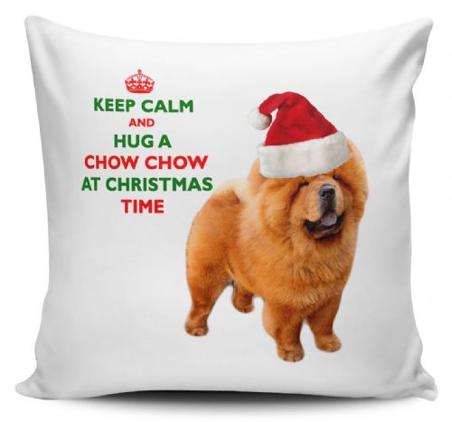 Christmas Keep Calm And Hug A Chow Chow Novelty Cushion Cover